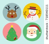 set of christmas icon. santa... | Shutterstock .eps vector #718540111