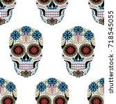 dia de los muertos seamless... | Shutterstock .eps vector #718545055