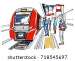 railway station sketch | Shutterstock .eps vector #718545697