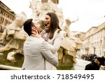 loving couple sightseeing on... | Shutterstock . vector #718549495