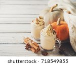 pumpkins spice latte with... | Shutterstock . vector #718549855