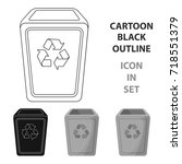 Garbage Can Icon In Cartoon...