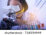 double exposure of  little... | Shutterstock . vector #718554949