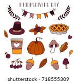 thanksgiving day set with... | Shutterstock .eps vector #718555309