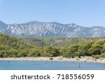 natural beach from phaselis... | Shutterstock . vector #718556059