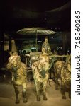 Small photo of XIAN, CHINA - May 11, 2017: The Bronze warrior carriage in Terracotta Army, a form of funerary art buried with the emperor and whose purpose was to protect the emperor in his afterlife.