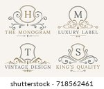 luxury logo template. shield... | Shutterstock . vector #718562461