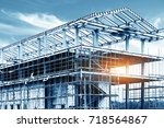 steel frame structure | Shutterstock . vector #718564867