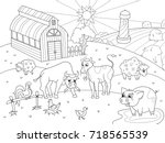 farm animals and rural... | Shutterstock .eps vector #718565539