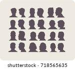 men's heads. silhouettes set.... | Shutterstock .eps vector #718565635