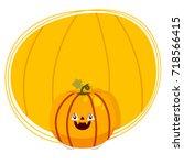 cute tooth  halloween pumpkin ... | Shutterstock .eps vector #718566415