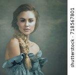 beautiful blondie  retro styled ...   Shutterstock . vector #718567801