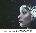 cyber look. science and... | Shutterstock . vector #718568581