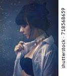 sensuality. beauty brunette ... | Shutterstock . vector #718568659
