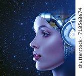cyber woman  abstract... | Shutterstock . vector #718568674