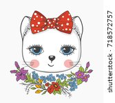 cute cat girl with flowers.... | Shutterstock .eps vector #718572757