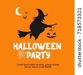 halloween party day vector... | Shutterstock .eps vector #718573321