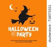 halloween party day vector... | Shutterstock .eps vector #718573321