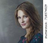 grungy female portrait. retro... | Shutterstock . vector #718574029