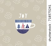 greeting card  joy. creative... | Shutterstock .eps vector #718575241