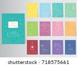 calendar 2018 vector nature... | Shutterstock .eps vector #718575661