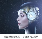 cyber look. science and... | Shutterstock . vector #718576309