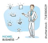 happy young business man... | Shutterstock .eps vector #718580029