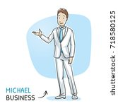 happy young man in business... | Shutterstock .eps vector #718580125