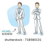young man in business suit... | Shutterstock .eps vector #718580131