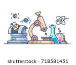 science and research line flat | Shutterstock .eps vector #718581451