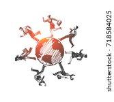 international partners concept. ... | Shutterstock .eps vector #718584025