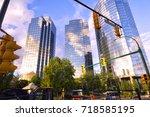 view from below of vancouvers... | Shutterstock . vector #718585195
