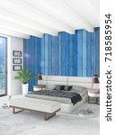 white bedroom minimal style... | Shutterstock . vector #718585954