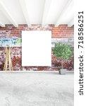 white bedroom minimal style... | Shutterstock . vector #718586251