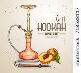 vector hand drawn hookah | Shutterstock .eps vector #718588117