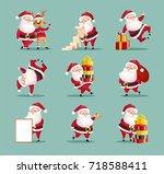santa clauses set for christmas ... | Shutterstock .eps vector #718588411