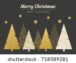 merry christmas and happy new... | Shutterstock . vector #718589281