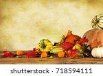 autumn still life with pumpkins ... | Shutterstock . vector #718594111