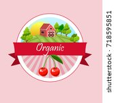 colorful vintage cherry label... | Shutterstock .eps vector #718595851