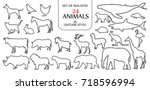 set of isolated 24 animals... | Shutterstock .eps vector #718596994