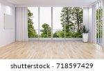 modern bright interiors. 3d... | Shutterstock . vector #718597429