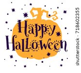 trick or treat  hand drawn... | Shutterstock .eps vector #718602355
