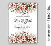 floral wedding invitation... | Shutterstock .eps vector #718604581