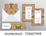 wedding invitations set and... | Shutterstock .eps vector #718607449