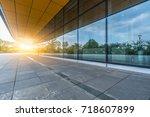 modern building and empty... | Shutterstock . vector #718607899