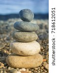 stack of balanced stones on the ... | Shutterstock . vector #718612051