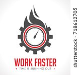 logo   work faster   employer... | Shutterstock .eps vector #718612705