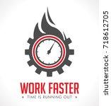 logo   work faster   employer... | Shutterstock .eps vector #718612705