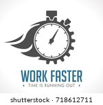 logo   work faster   employer... | Shutterstock .eps vector #718612711