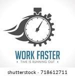 logo   work faster   employer... | Shutterstock .eps vector #718612711